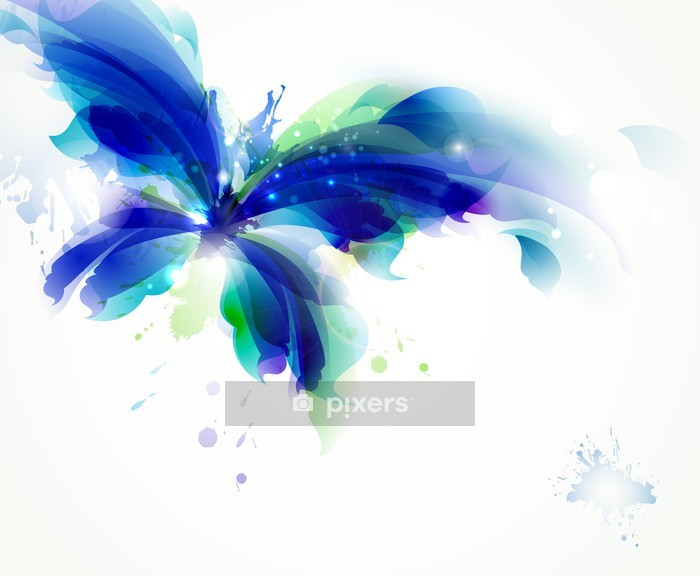 Abstract butterfly with blue and cyan blots Wall Decal - Wall decals