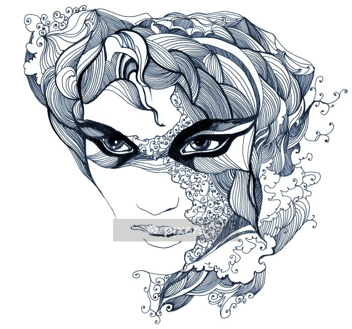 abstract decorated face (series C) Wall Decal - Styles