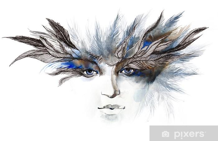 feathers around eyes (series C) Pixerstick Sticker - Fashion
