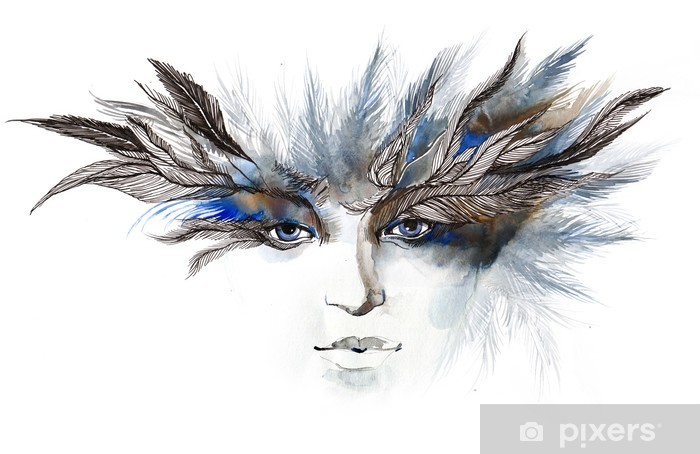 feathers around eyes (series C) Vinyl Wall Mural - Fashion