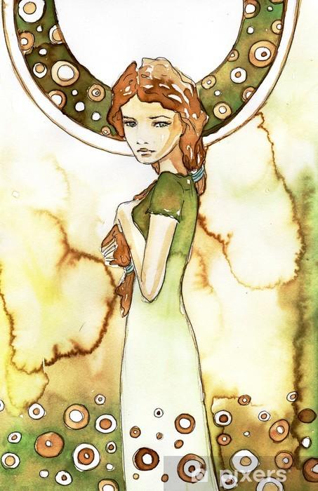 Naklejka Pixerstick Piękna dziewczyna w zielonej secesji - Przeznaczenia