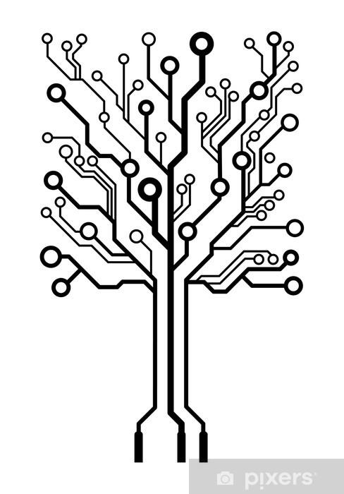 Pixerstick Sticker Vector logo bord boom vierkante circuit - Muursticker