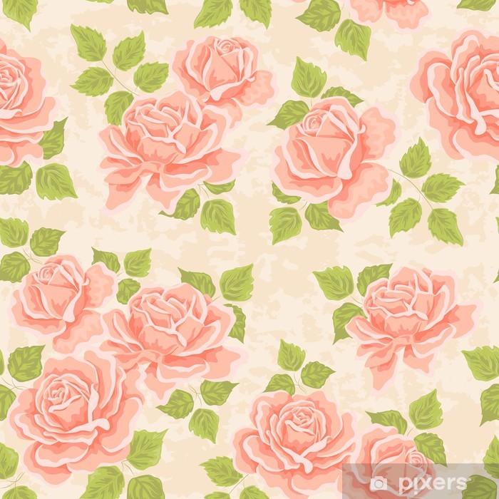 Papier peint vinyle Motif de papier peint transparente avec des roses -