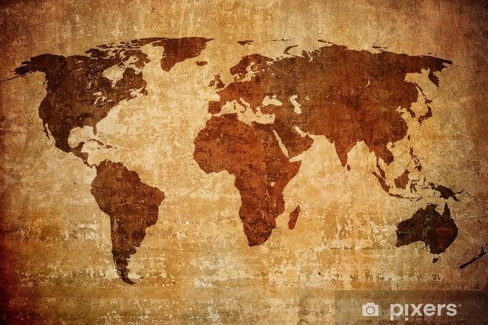 Pixerstick Sticker Grunge kaart van de wereld - Thema's