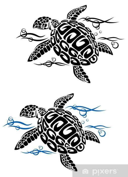 Papier peint vinyle Tortue dans l'eau de mer - Autres Autres