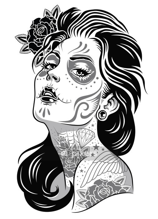 Black and White Day of Dead Girl Vector Illustration Wall Decal -