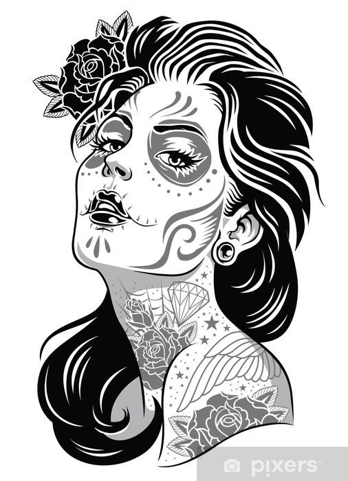 Sticker Pixerstick Jour Noir et Blanc Girl Illustration Vecteur de mort -
