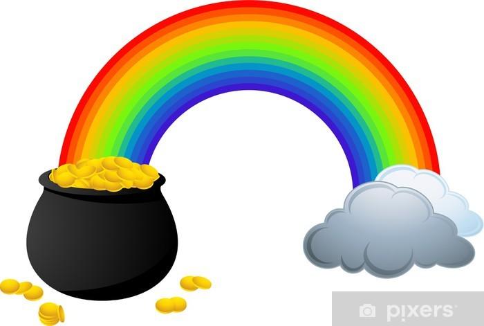 Fotomural Arco iris mostrando dónde está una olla llena de monedas ...
