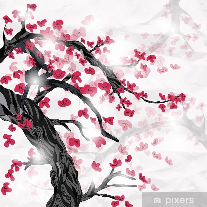 Naklejka Pixerstick Kwiat wiśni wiosną ispired przez japońskiego malarstwa - Style