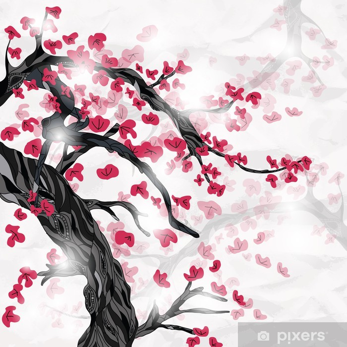cherry blossom in spring ispired by japanese painting Pixerstick Sticker - Styles
