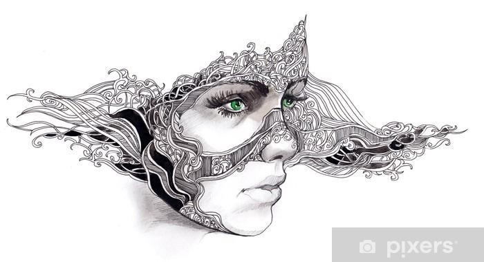Naklejka Pixerstick Streszczenie twarz kobiety - Bogactwo