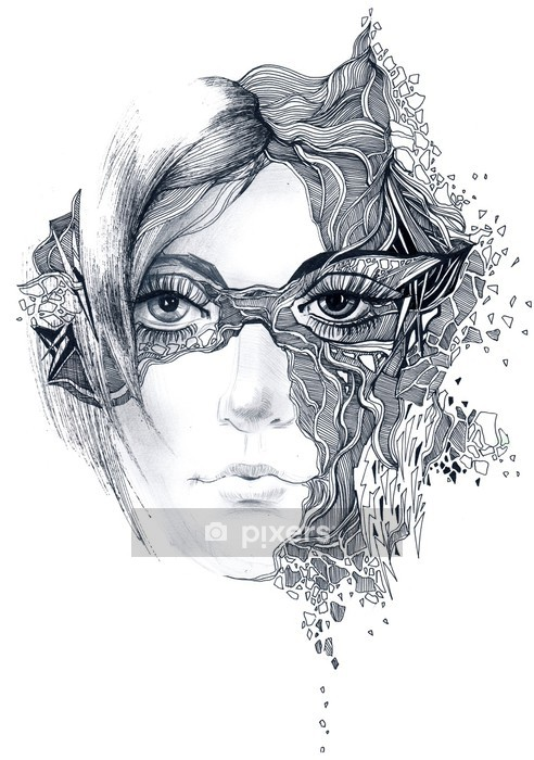 abstract woman face Wall Decal - Wall decals