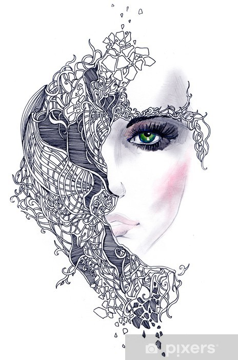 Sticker Pixerstick Abstract woman face - Styles