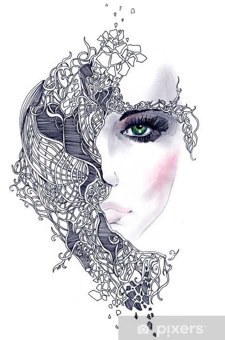 Abstrakti nainen kasvot Vinyyli valokuvatapetti -