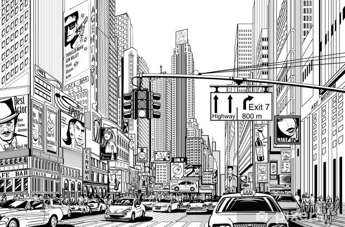 Afwasbaar Fotobehang Straat in New York city - Stedelijk