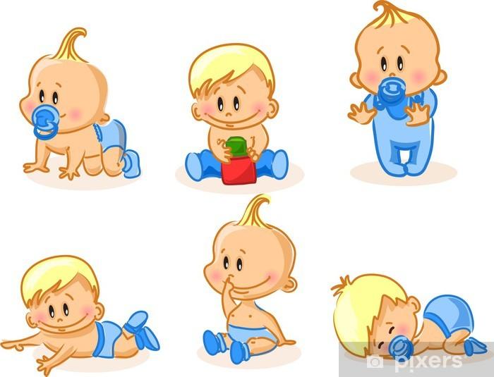 Naklejka Pixerstick Ilustracji wektorowych z chłopców - Dzieci