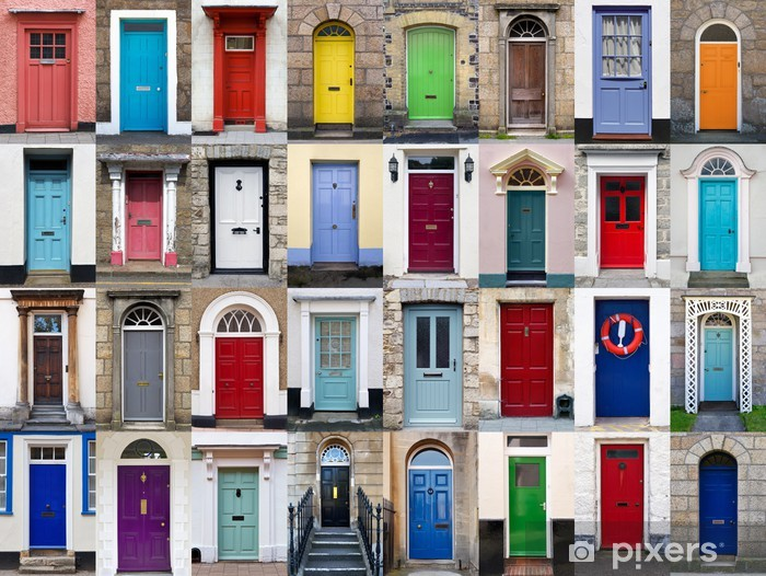 32 front doors horizontal collage Pixerstick Sticker - Heavy Industry
