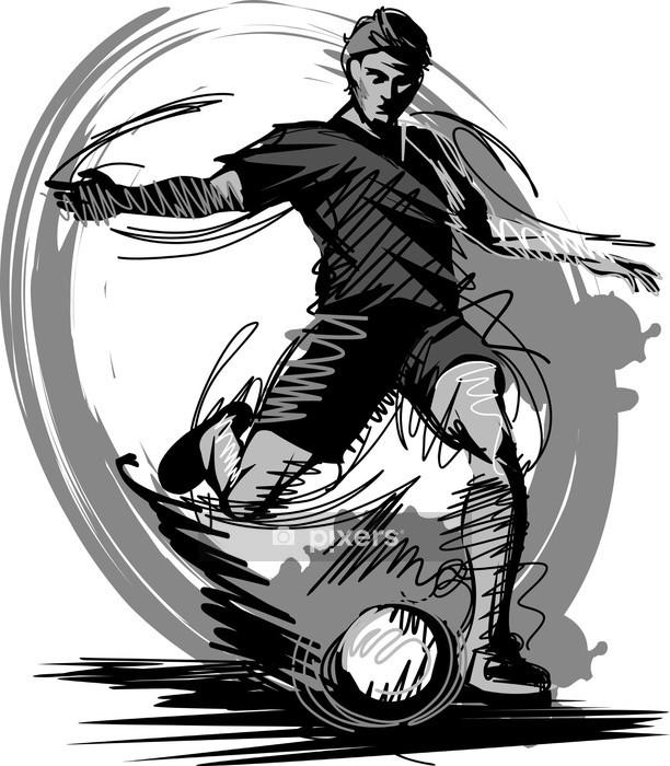 Vinilo para Pared Jugador de fútbol Kicking Ball. Ilustración vectorial - Deportes de equipo