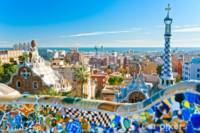 Park Guell in Barcelona, Spain. Pixerstick Sticker - Themes