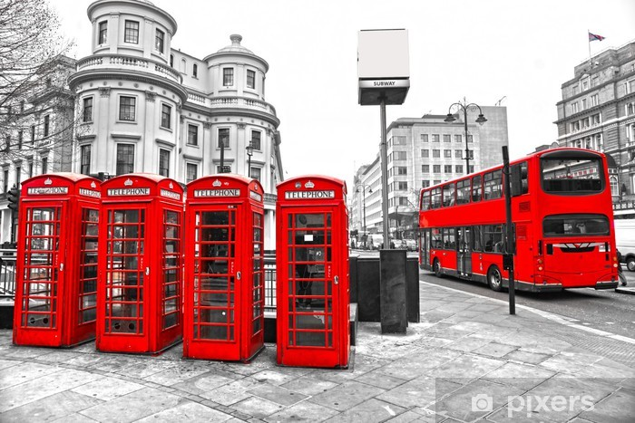 Red telephone boxes and double-decker bus, london, UK. Vinyl Wall Mural - Themes