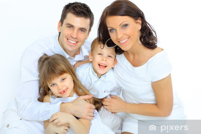 Pixerstick Dekor Porträtt av lycklig familj ler mot kameran - Familjeliv