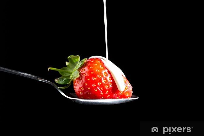 Vinyl-Fototapete Erdbeeren und Sahne - Themen
