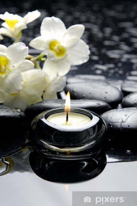 aromatherapy candle and zen stones with branch white orchid Vinyl Wall Mural - Lifestyle>Body Care and Beauty