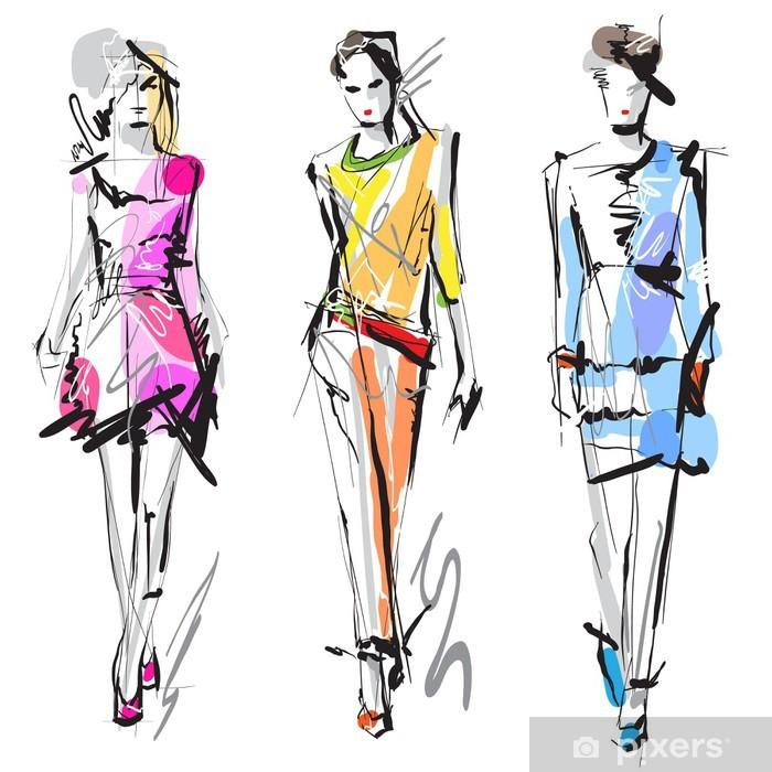Vinilos De Moda.Vinilo Modelos De Moda Sketch Pixerstick