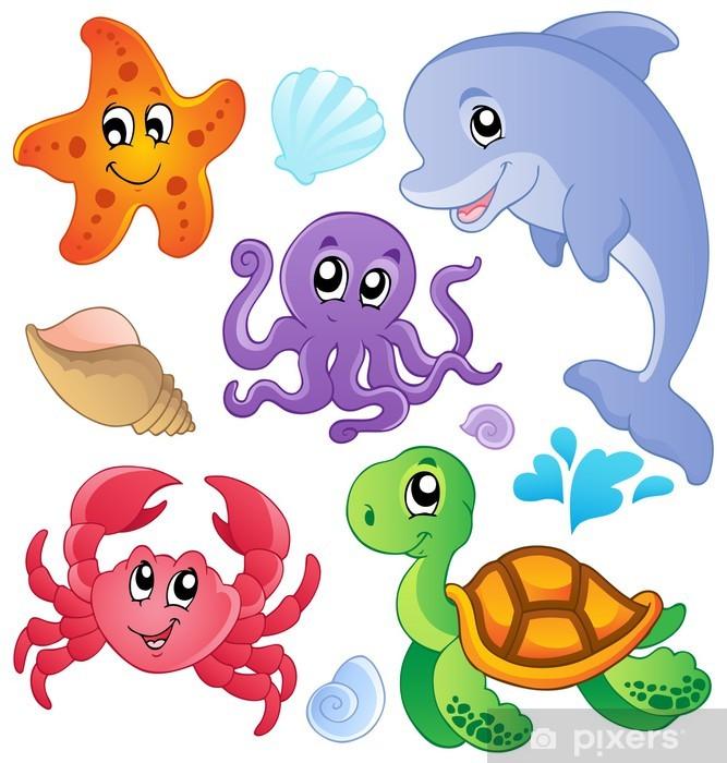 Sticker pour frigo Les poissons de mer et de la collecte des animaux 3 - Sticker mural