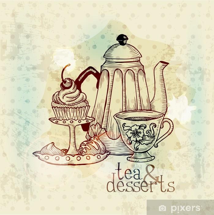 53909e1d Fototapet av vinyl Te og desserter - Vintage Menu Card i vektor - Varme  Drikker