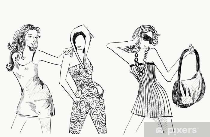 e0c7c2dd473e Fototapeta vinylová Tři dívky v módní oblečení. Ručně kreslená ilustrace.
