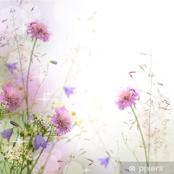 Plakat w ramie Piękne pastelowe kwiatów granicy - niewyraźne tło - iStaging