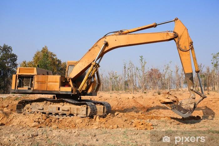 Vinilo Pixerstick Excavadora trabajando - Industria pesada