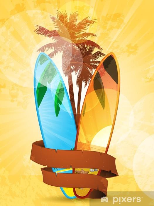 Fotomural Estándar Tabla de surf tropical y la bandera - Deportes acuáticos