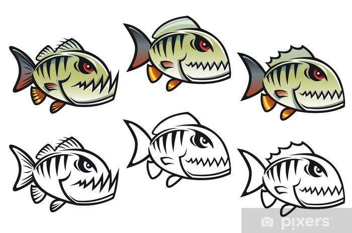 Fotomural Angry pirañas de dibujos animados • Pixers® - Vivimos para ...