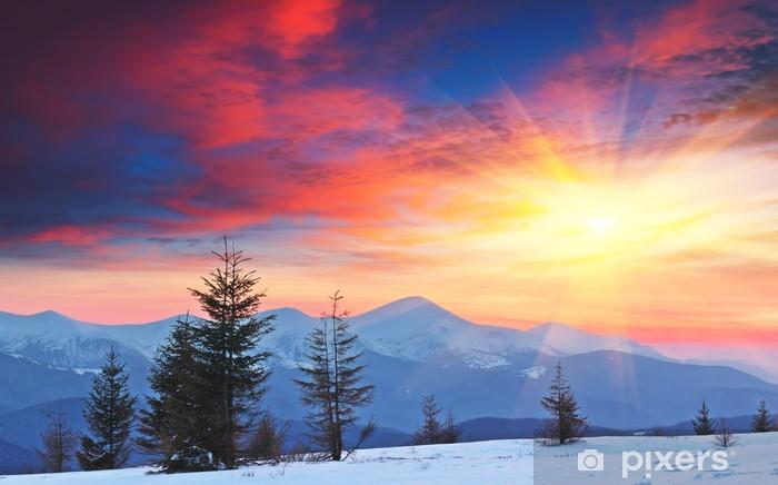 Naklejka Pixerstick Zimowy krajobraz o zachodzie słońca - Pory roku