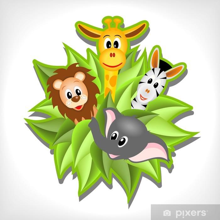 Plakat Mały słoń kreskówki, żyrafa, lew i zebra - Ssaki