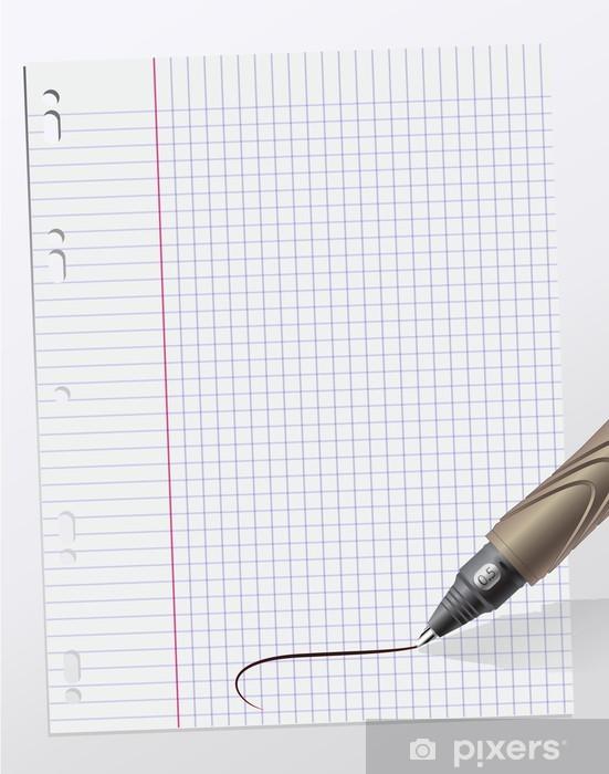 Naklejka Pixerstick Notatki napisane na kartce papieru milimetrowego - Czytanie
