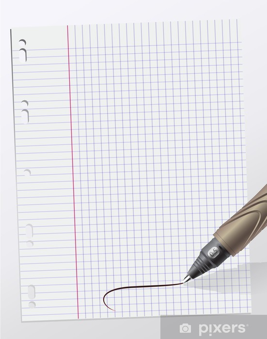 Sticker Pixerstick Notes écrites sur feuille de papier quadrillé - Lecture