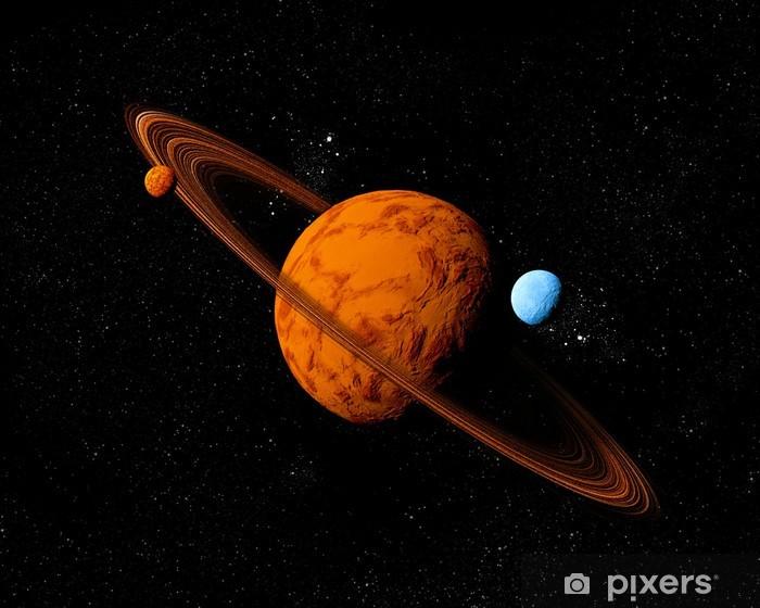 Papier peint vinyle Planète avec l'anneau et lunes. Résumé de fond de l'espace profond. Je - Planètes