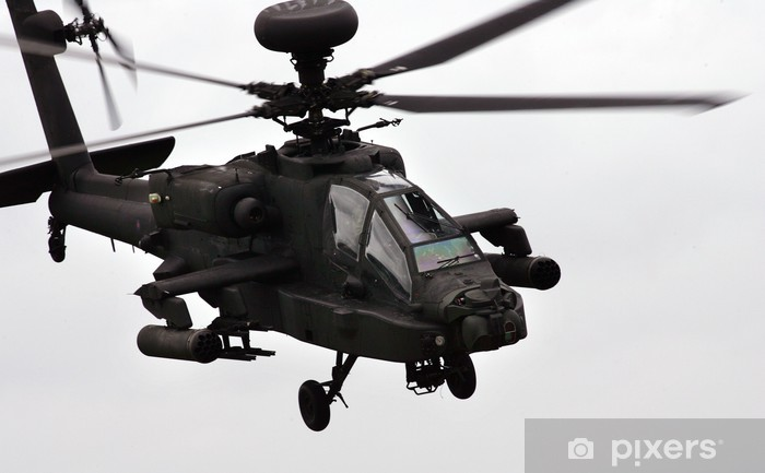 apache helicopter flying Pixerstick Sticker - Military