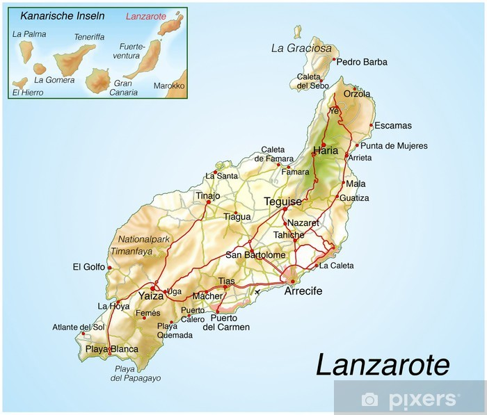 Cartina Lanzarote.Landkarte Von Lanzarote Wall Mural Pixers We Live To Change
