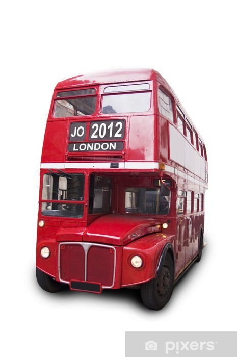 Vinyl-Fototapete Bus rouge isolé fond blanc 2012 London - Europäische Städte