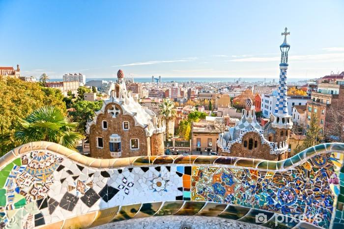 Vinyl Fotobehang Park Guell in Barcelona, Spanje. - Thema's