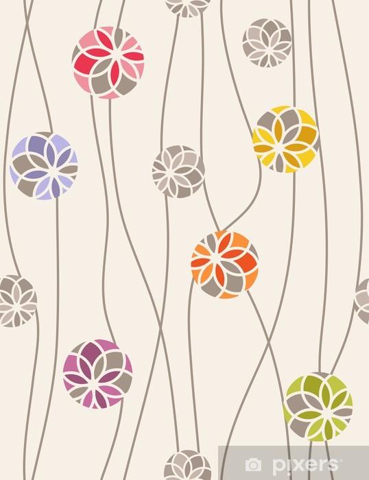 Fototapeta winylowa Kolorowe kwiatów medaliony. Bez szwu wektor - Tła