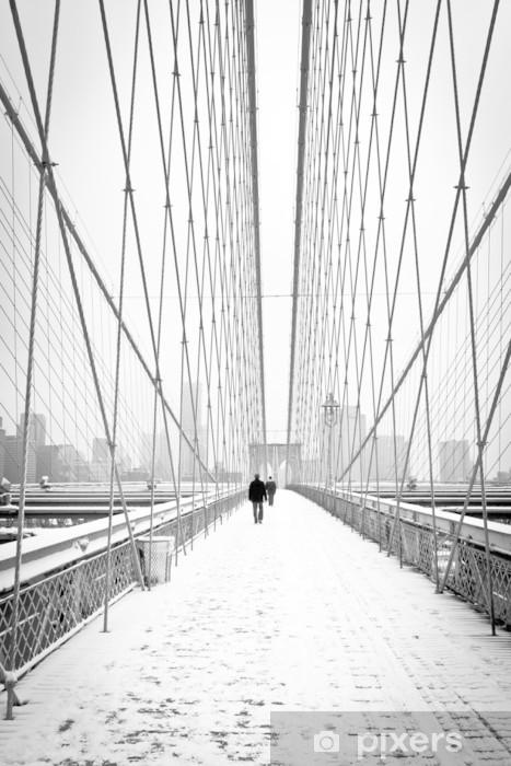 Papier peint vinyle Brooklyn Bridge - bianco e nero - New York