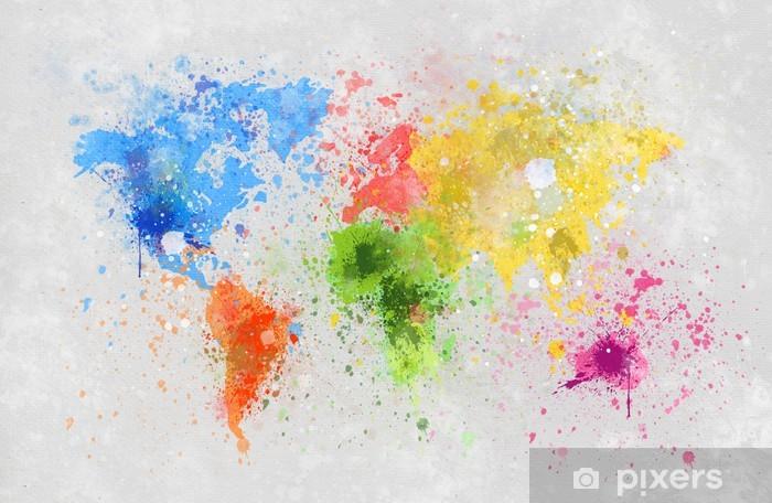 world map painting Pixerstick Sticker -