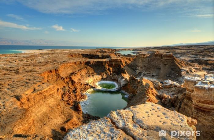 Naklejka Pixerstick Sink Dziury w pobliżu Morza Martwego w Ein Gedi, Izrael - Bliski Wschód