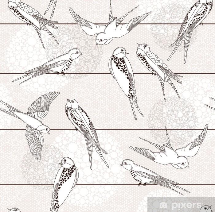 Fototapeta winylowa Streszczenie powtarzalne. Ptak na drutach. - Style