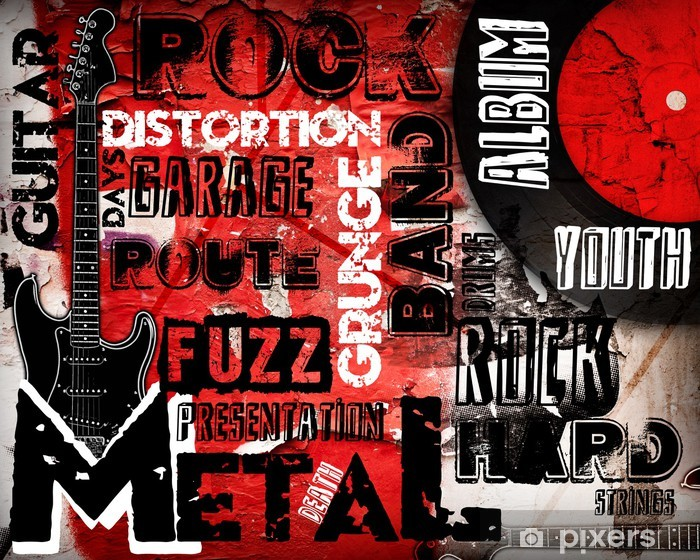 Rock Music poster on red wall Vinyl Wall Mural - Rock